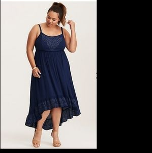 Blue gauze bone high low dress